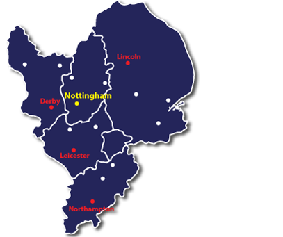 Debt Collection Nottingham Map